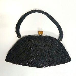 Vintage Black Beaded Crochet Handbag